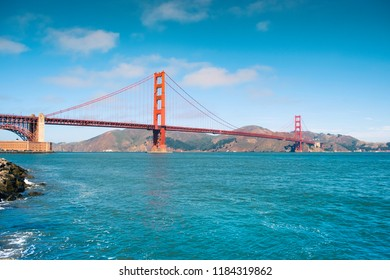 The Golden Gate bridge on a sunny day