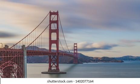 Golden Gate Bridge over San Francisco Bay at dusk in San Francisco, USA