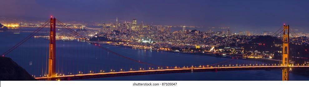 Golden Gate Bridge Over San Francisco Bay and Skyline at Dusk Panorama