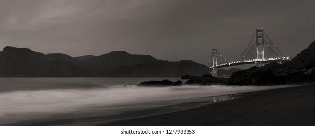 Golden Gate Bridge Panorama and Marin Headlands at Night