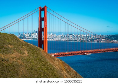 Golden Gate Bridge perfect sunny afternoon in the San Francisco Bay Area overlooking the Northwest Passage and gorgeous views of Northern California sunny afternoon 2019 August
