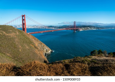 Golden Gate Bridge perfect sunny afternoon in the San Francisco Bay Area overlooking the Northwest Passage and gorgeous views of Northern California huge wide angle view across Bay Area