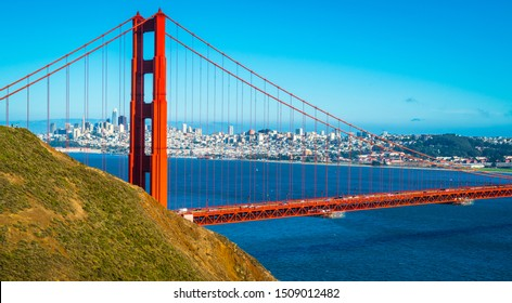 Golden Gate Bridge perfect sunny afternoon in the San Francisco Bay Area looking through the bridge cables Northwest Passage and gorgeous views of Northern California