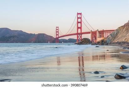 Golden Gate Bridge reflections in San Francisco at sunset