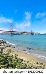 Golden Gate Bridge in San Francisco - Viewpoint from Torpedo Wharf, California, USA