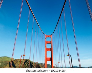 Golden Gate Bridge in San Francisco on a Sunny Day with Blue Sky