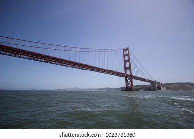 The Golden Gate Bridge in San Francisco shoot from a boat