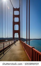 Golden Gate Bridge, San Francisco, 2018 feb 24, Cyclists on the bridge