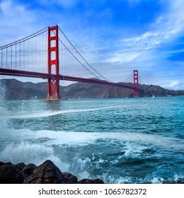 Golden Gate Bridge in San Francisco California waves the bay