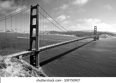 The Golden Gate Bridge in San Francisco in black and white