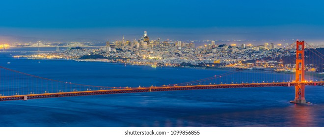 Golden Gate bridge in San Francisco California USA West Coast of Pacific Ocean Sunset Twilight panorama