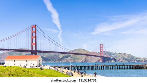 Golden Gate bridge in San Francisco California USA West Coast of Pacific Ocean