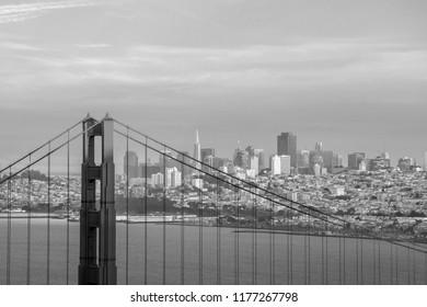 Golden Gate Bridge in San Francisco, California USA at twilight