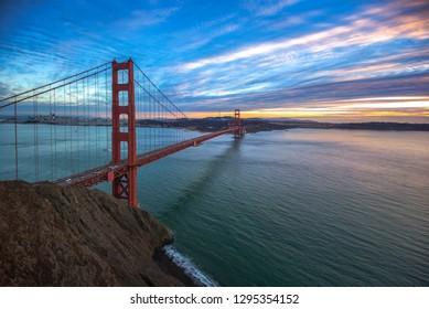 Golden Gate Bridge, San Francisco CA USA. Sunset sky at San Francisco, California