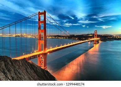 The Golden Gate Bridge in San Francisco bay in the night