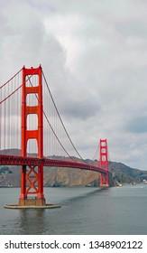 Golden Gate Bridge in San Francisco. Vanishing point.