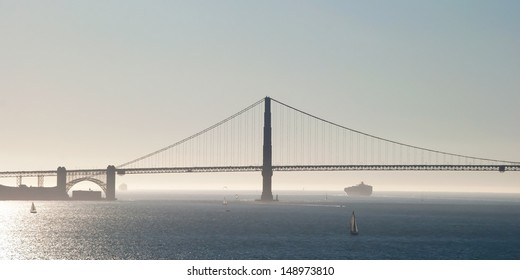The Golden Gate Bridge in San Francisco with fog and ocean in background