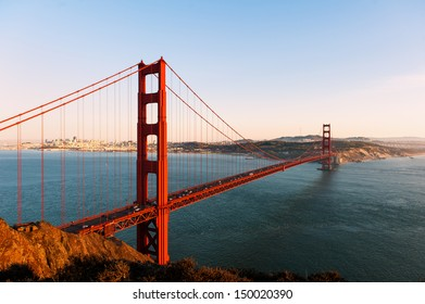 The Golden Gate bridge and San Francisco at sunset