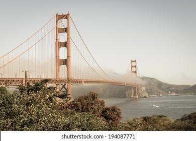 Golden Gate Bridge. San Francisco. Vintage.