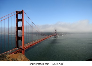 Golden Gate Bridge in San Francisco, shot from Marin County in typical foggy weather