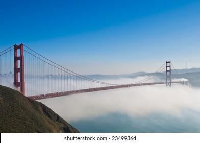 Golden Gate Bridge in San Francisco shot from Marin Headlands.