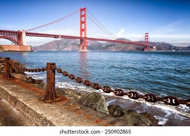 Golden Gate Bridge in San Francisco, California. Iconic landmark.