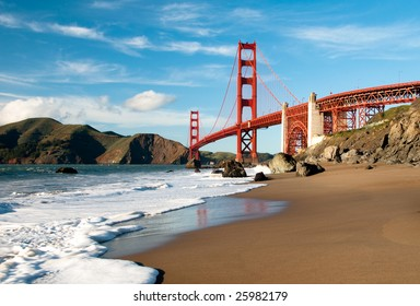 Golden Gate Bridge in San Francisco shot from Marshall Beach.