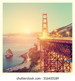 Golden Gate Bridge, San Francisco, California, USA, with Instagram style filter
