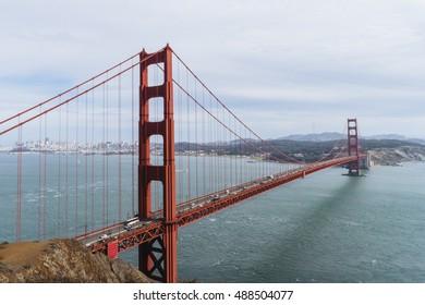 Golden Gate bridge in San Francisco one of symbols of city.
