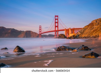 Golden Gate Bridge in San Francisco, California at sunset.