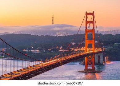 Golden Gate Bridge in San Francisco, California USA at sunrise