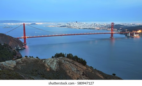 Golden Gate Bridge in San Francisco, California, as seen from Hawk Hill at night.