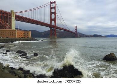 GOLDEN GATE BRIDGE, SAN FRANCISCO, CALIFORNIA - AUGUST 12, 2014 - A view of the Golden Gate Bridge in San Francisco, California