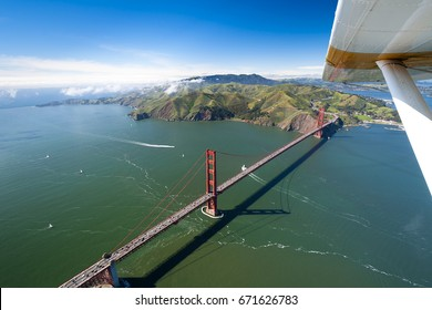 Golden Gate Bridge and San Francisco National Recreation Area  As taken from the front seat of a seaplane. Half an hour before take off the whole bay was covered with clouds.