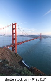 The Golden Gate Bridge in San Francisco bay at twilight
