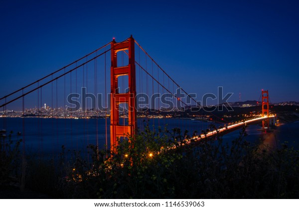 Golden Gate Bridge and San Francisco at night. Long exposure from Battery Spencer, north of San Francisco Bay.