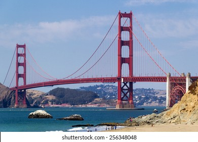 Golden Gate Bridge seen from above Baker Beach