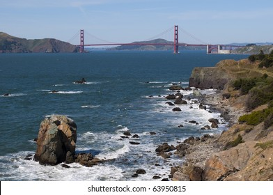 Golden Gate Bridge seen from Lands End in San Francisco, California.