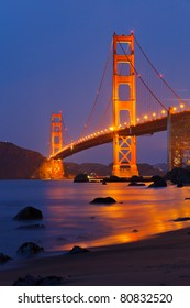Golden Gate bridge shortly after sunset