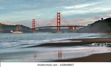 Golden Gate Bridge is shown at sunset , San Francisco, California