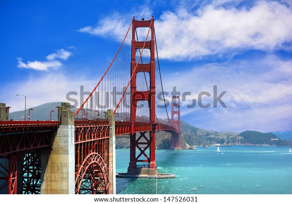 The Golden Gate Bridge in the Summertime in San Francisco, California USA