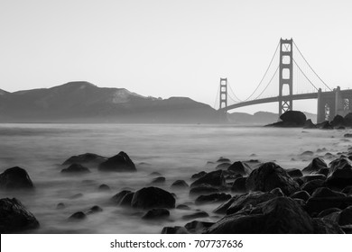 Golden Gate bridge at sunrise from Marshall Beach in black and white - San Francisco, USA - April 2016