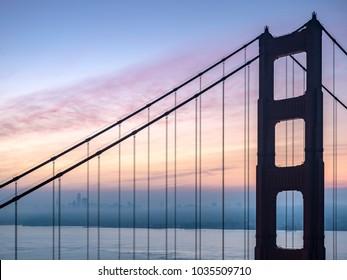 Golden Gate Bridge Sunrise with San Francisco in Background