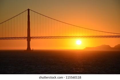 Golden Gate bridge in the sunset