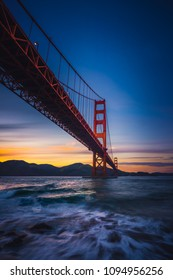 The Golden Gate Bridge at Sunset from Fort Point, San Francisco, California, USA