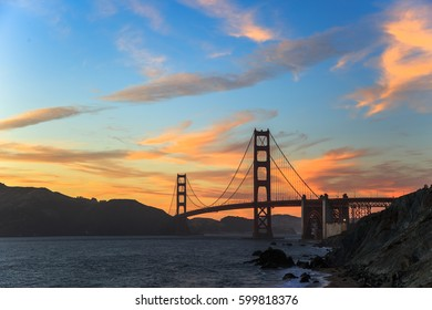Golden Gate Bridge at sunset, San Francisco, CA