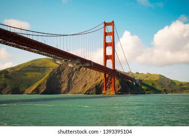 The golden gate bridge taken on a ferry boat