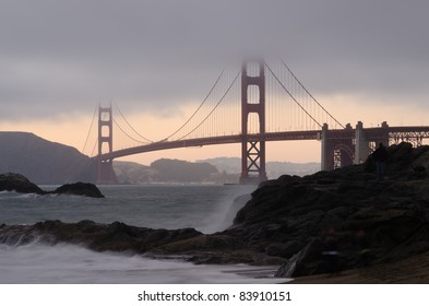 Golden Gate Bridge at twilight as seen from Baker Beach