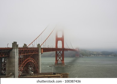 Golden Gate Bridge upper part in fog