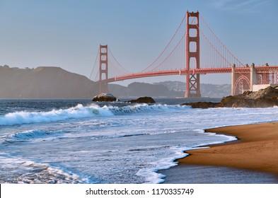 Golden Gate Bridge view from Baker Beach, San Francisco, California, USA